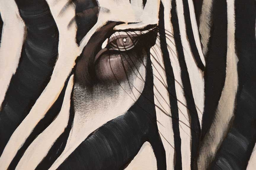 Pair of Modern Zebra Paintings by R. Atkins? Oil on - 6