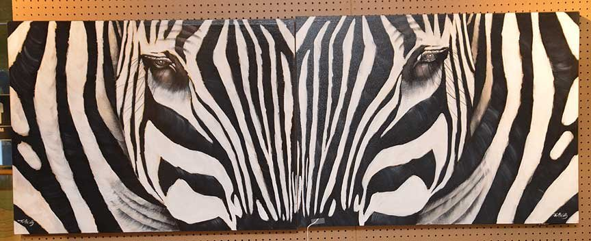 Pair of Modern Zebra Paintings by R. Atkins? Oil on - 8