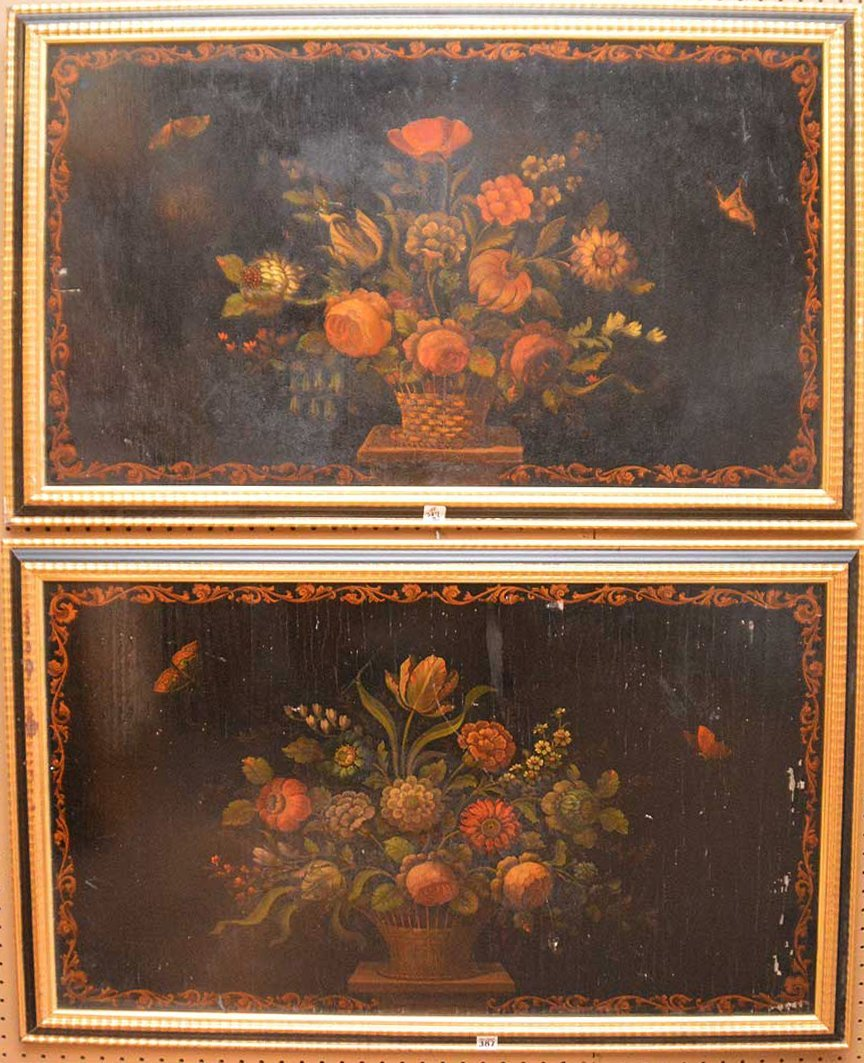 """Pair floral Paintings on panels (some paint loss) 27"""" x"""