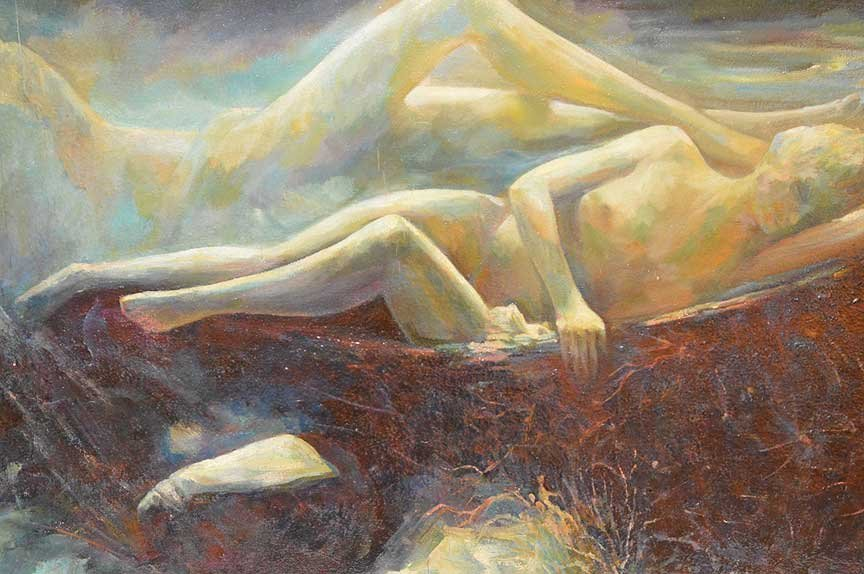 Reclining Nude oil Painting by Pierre Puvis de - 2