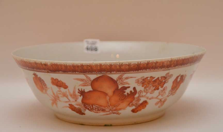 "Chinese bowl with orange mythological animals, 3""h x"