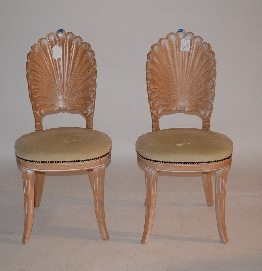 Pr. White Washed Shell Back Chairs