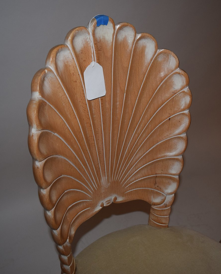 Pr. White Washed Shell Back Chairs - 2