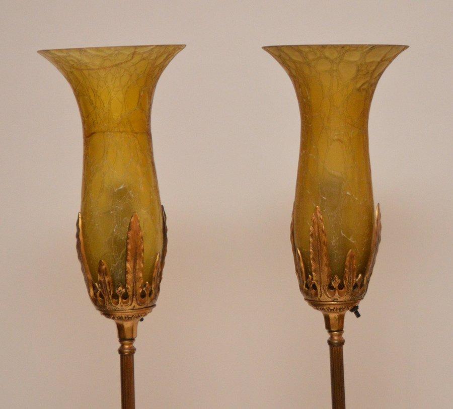 Pr. Vintage metal Torchere Floor Lamps, shade on one as - 2
