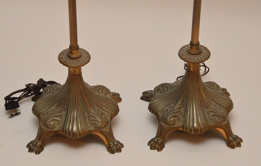Pr. Vintage metal Torchere Floor Lamps, shade on one as - 3