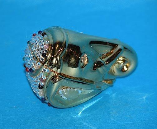 7: Judith Leiber Gold plated & jeweled pillbox, elephan