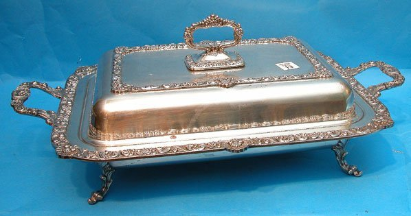 13: Highly decorated footed silverplate serving piece w