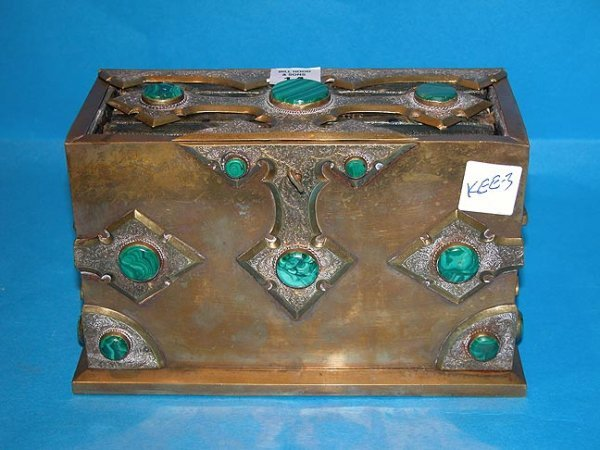 14: Brass and malachite book safe w/ 5 clean journals i