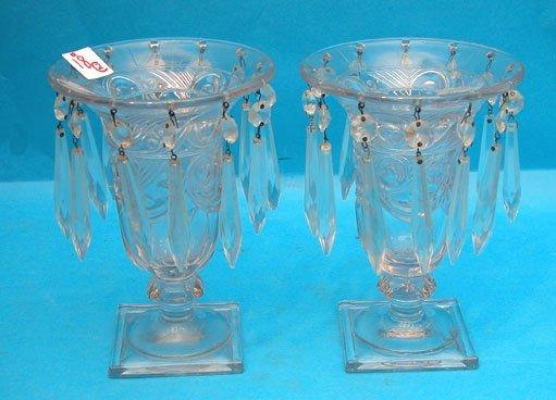 18: Pair of pattern glass hurricane candleholders, each