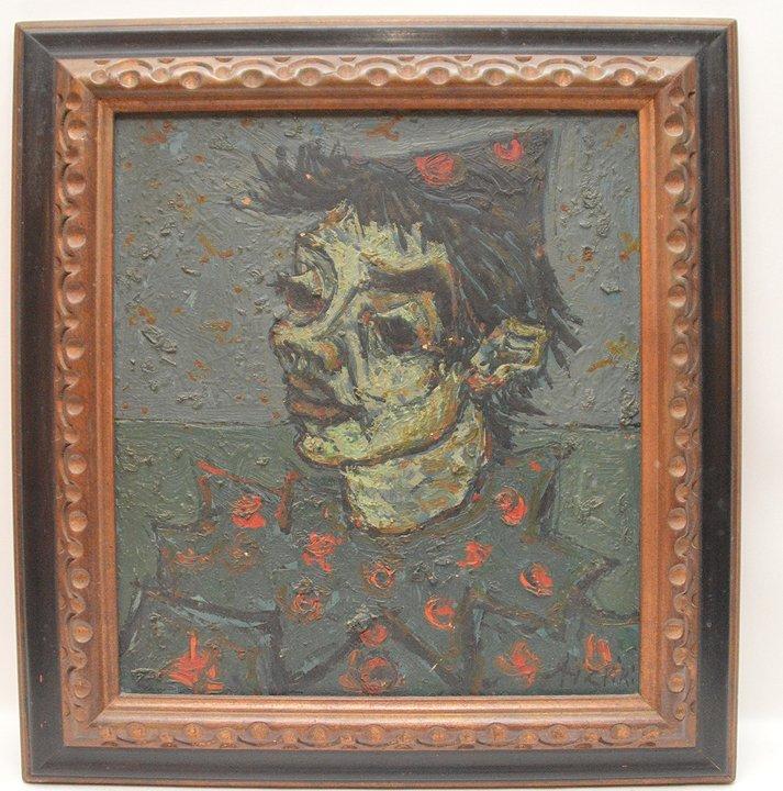 """Paul Azpiri (FRENCH, 1919) oil on canvas, """"Clown"""""""