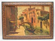 Italian Painting Venice canal scene with bridge, signed