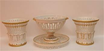 3 Piece Italian Pottery Garniture  Center Bowl with