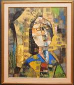 "Cubist Portrait oil on canvas, signed illegibly, 24"" x"