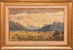 Oil on canvas Mountain Scene signed illegibly 1712