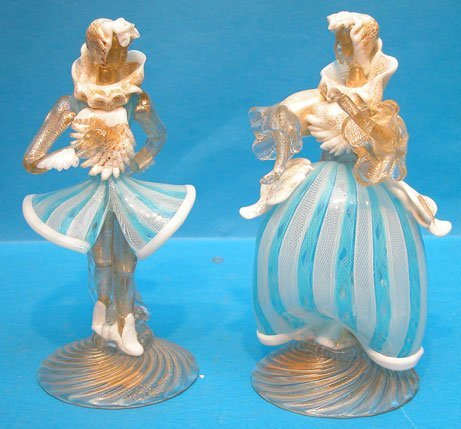 1002: Pair of Murano figures, chipped fingers on lady w