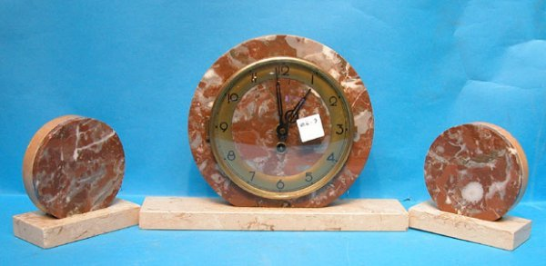 1003: 3 Piece deco marble clock with 2 side pieces