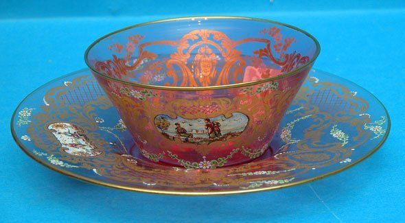 1005: Moser cranberry glass bowl & under plate with han