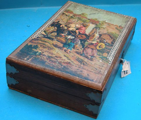 1012: French 15pc. Wood block puzzle set, in hinged woo
