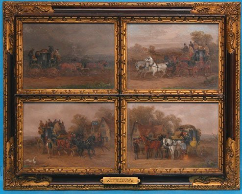 1204: W.J. Shayer paintings, Set of 4 19th century smal