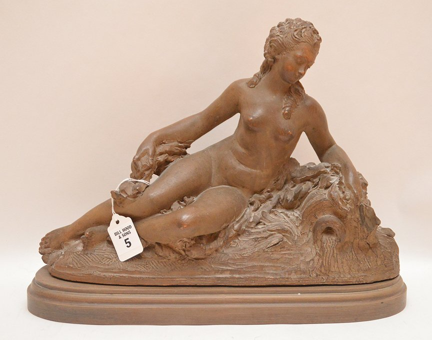 Antique French Terra Cotta Sculpture of a reclining