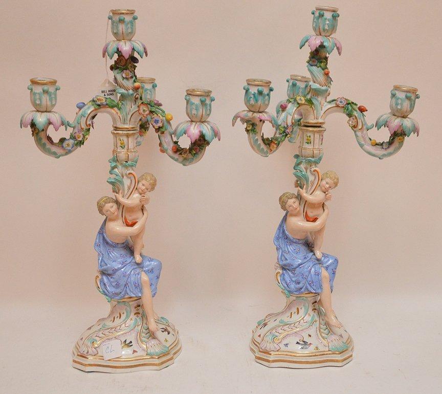 Pair Meissen Porcelain 4 Light Candelabra.  Condition: