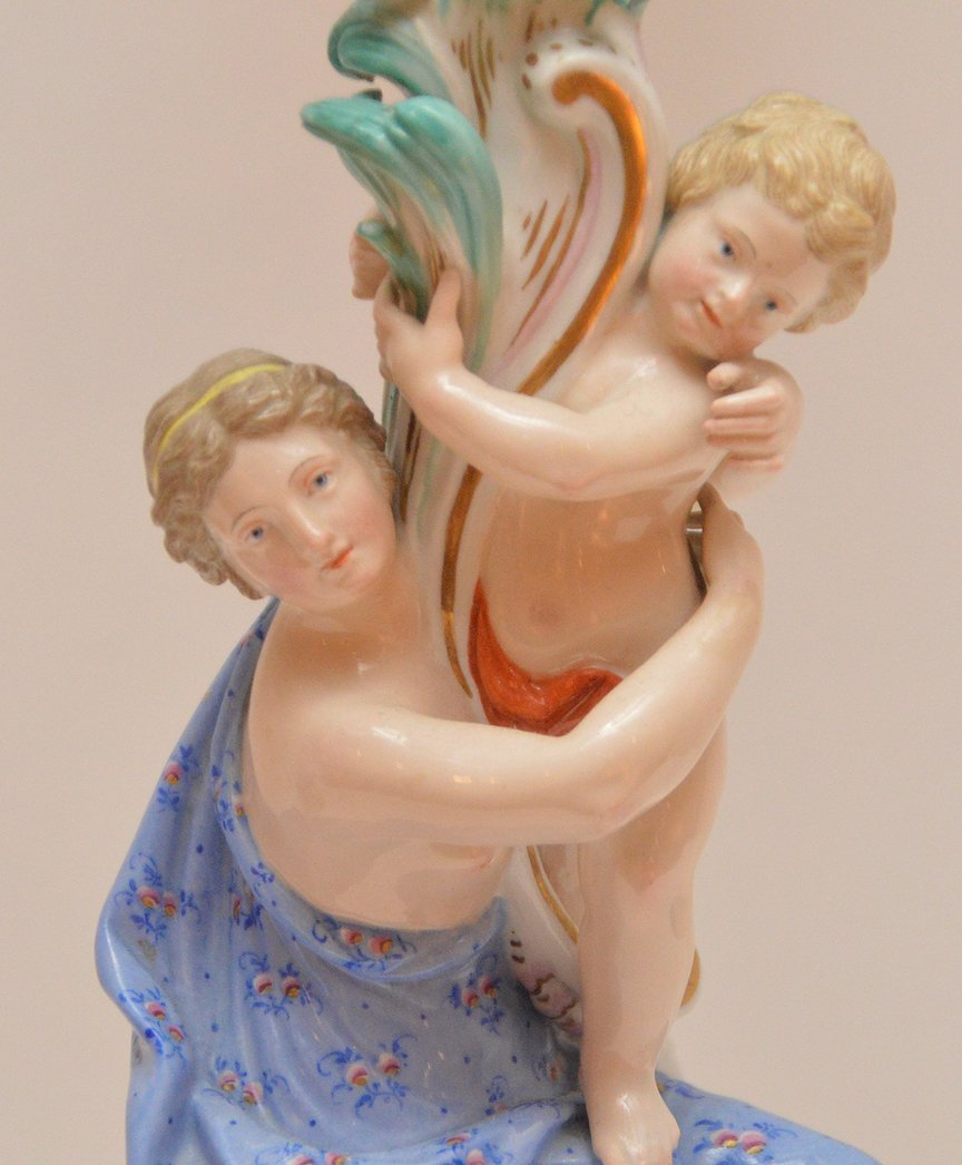 Pair Meissen Porcelain 4 Light Candelabra.  Condition: - 2