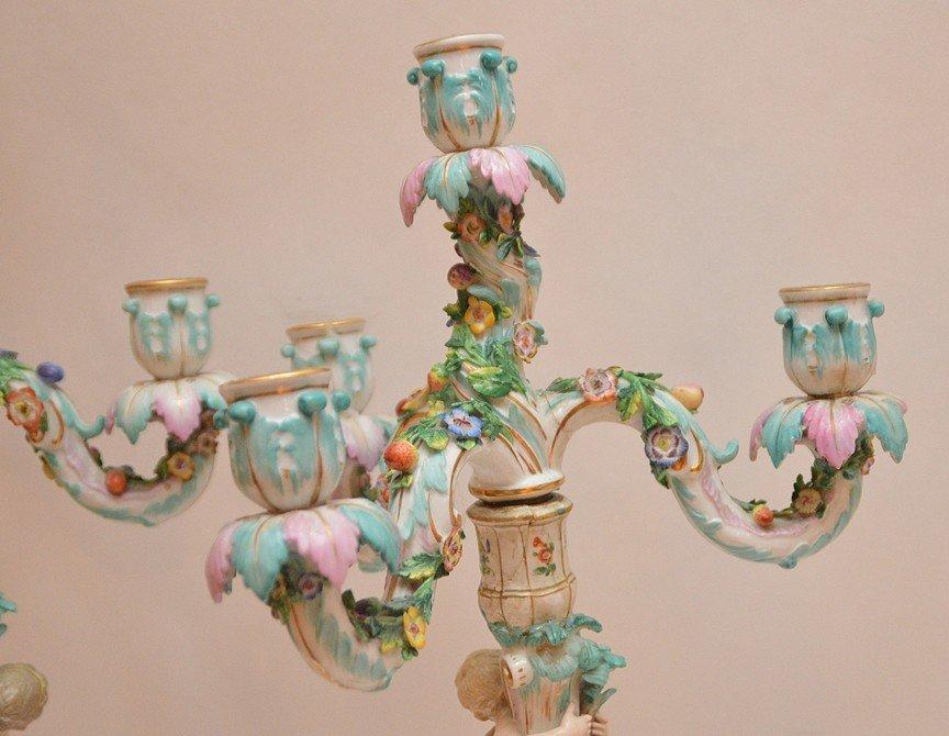 Pair Meissen Porcelain 4 Light Candelabra.  Condition: - 5