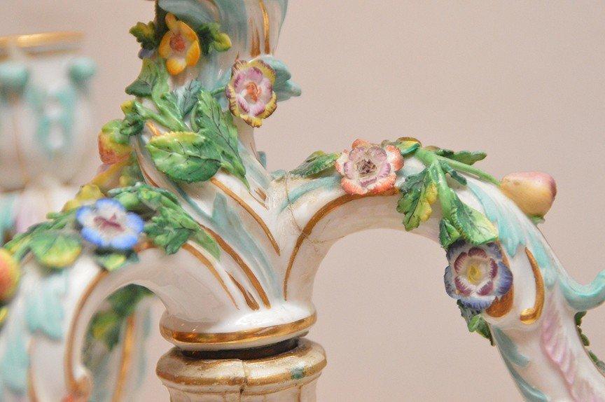 Pair Meissen Porcelain 4 Light Candelabra.  Condition: - 6