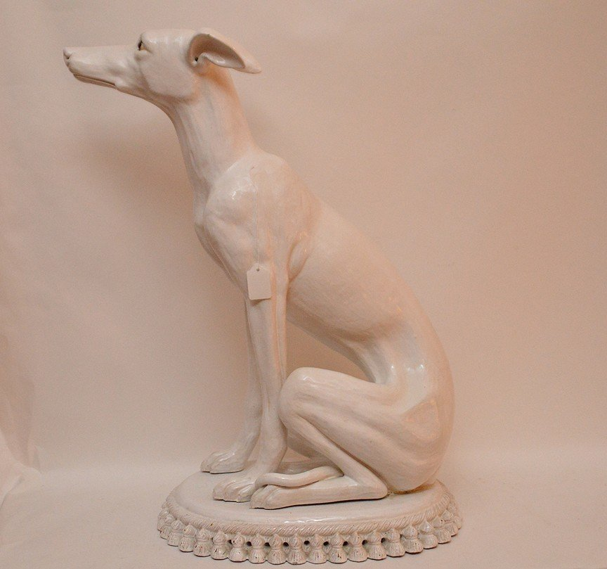 Vintage French Terra Cotta Painted Whippet. Ht. 27""