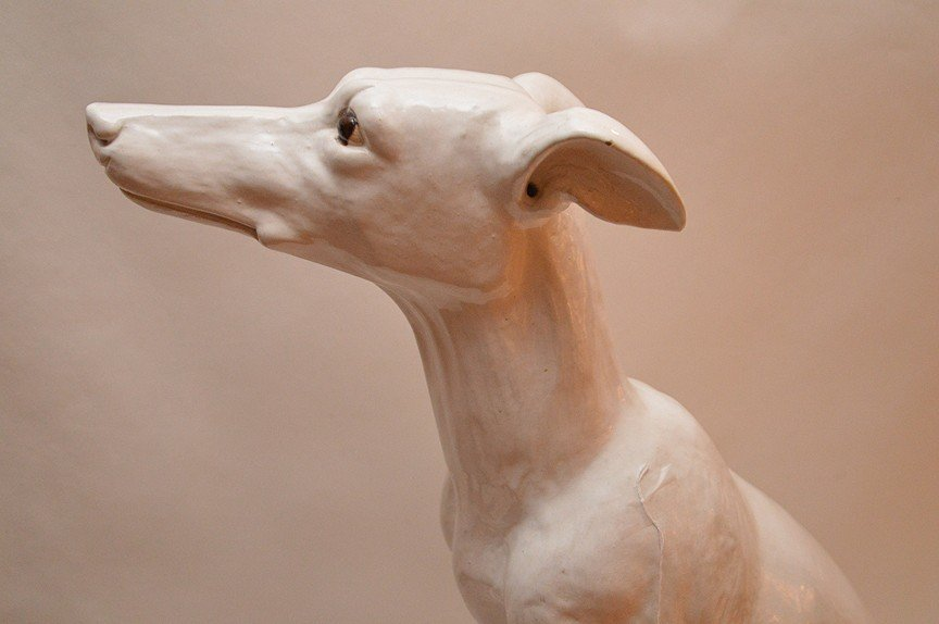 "Vintage French Terra Cotta Painted Whippet. Ht. 27"" - 2"