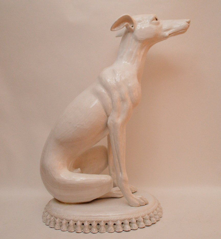 "Vintage French Terra Cotta Painted Whippet. Ht. 27"" - 4"