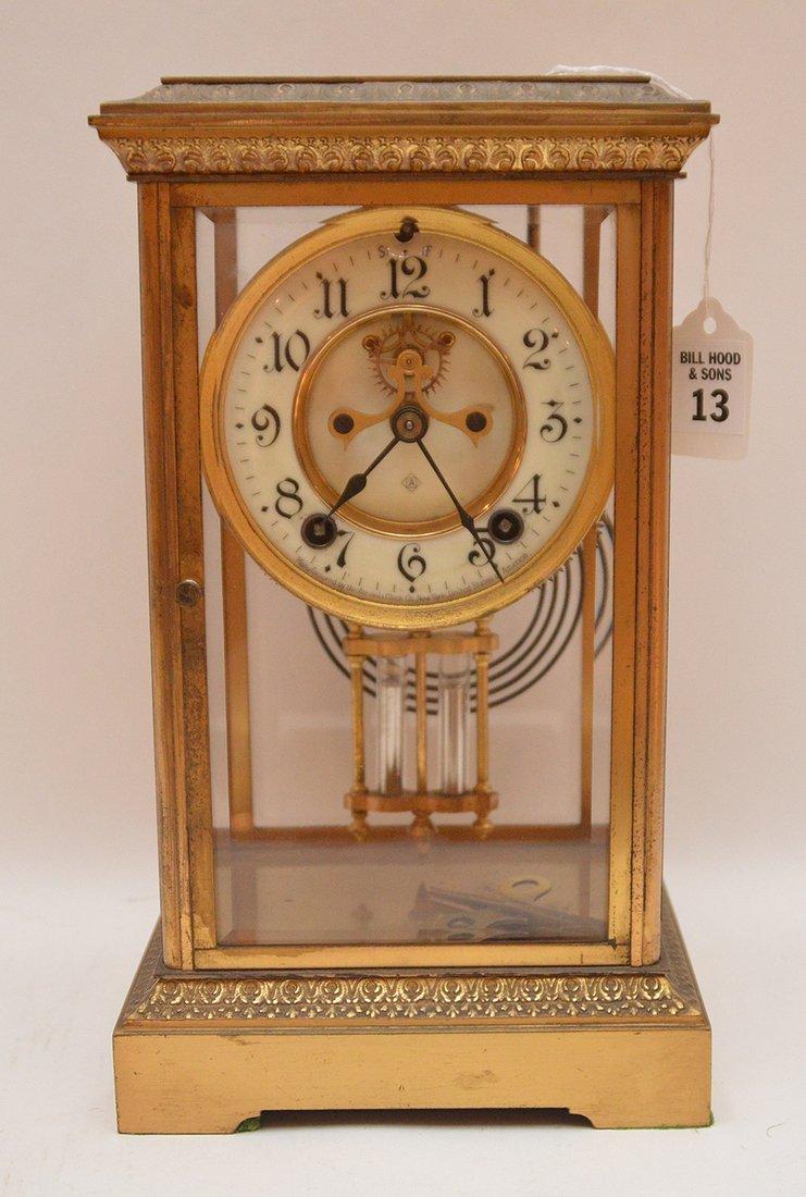 Bronze & Crystal Regulator Clock with mercury bob
