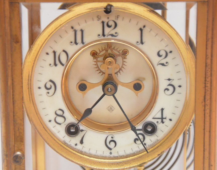 Bronze & Crystal Regulator Clock with mercury bob - 2