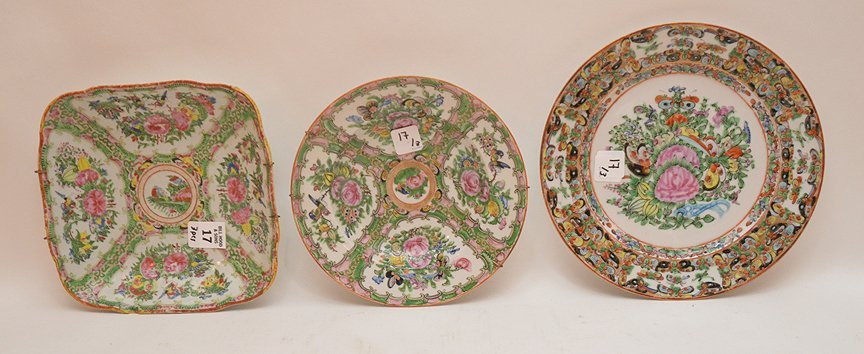 3 Pieces Chinese Rose Medallion Porcelain.  Square Bowl