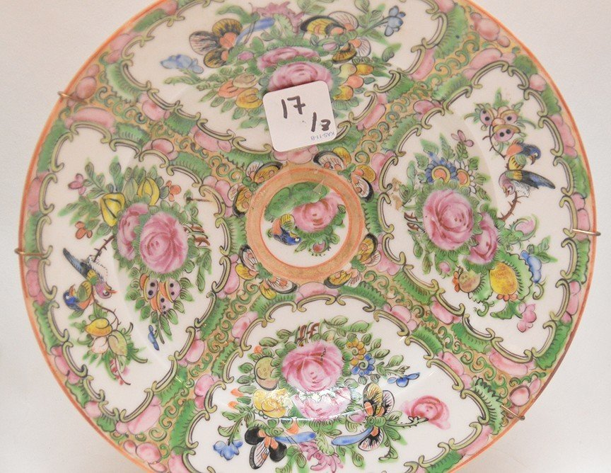 3 Pieces Chinese Rose Medallion Porcelain.  Square Bowl - 3
