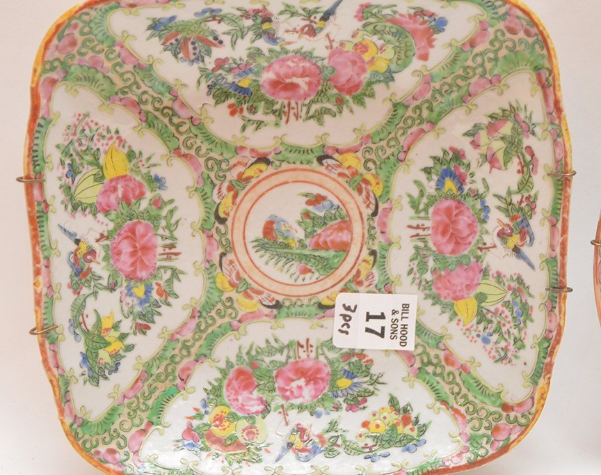 3 Pieces Chinese Rose Medallion Porcelain.  Square Bowl - 4