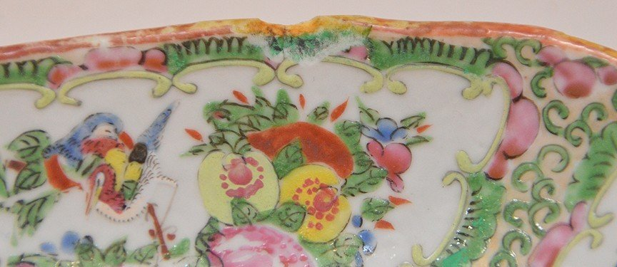 3 Pieces Chinese Rose Medallion Porcelain.  Square Bowl - 5