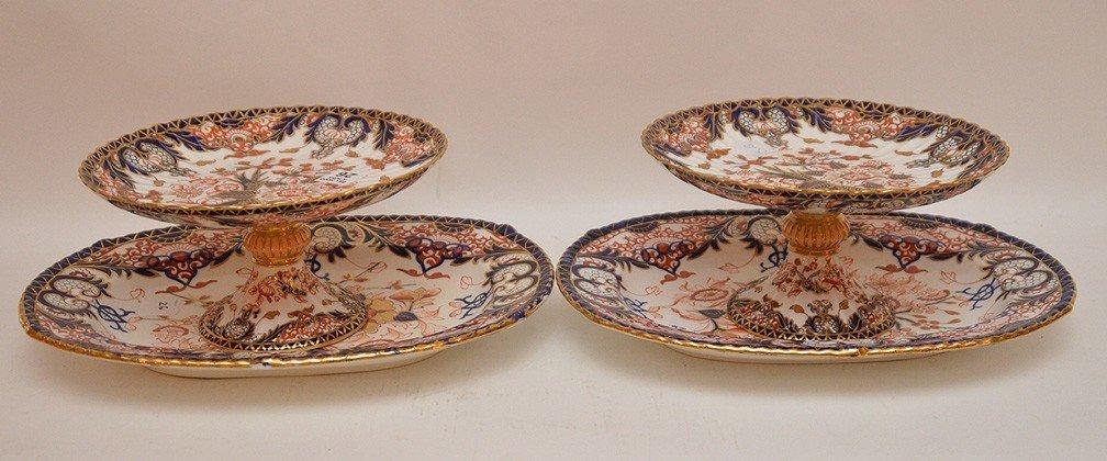 4 Pieces Royal Crown Derby porcelain, 2 compotes (4