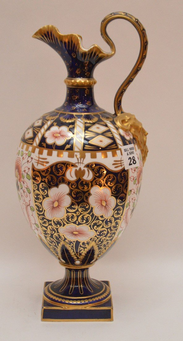 "Royal Crown Derby ""Imari"" porcelain ewer with mask at"