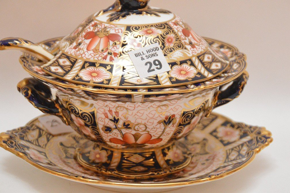 "Royal Crown Derby ""Imari"" porcelain covered tureen with - 3"