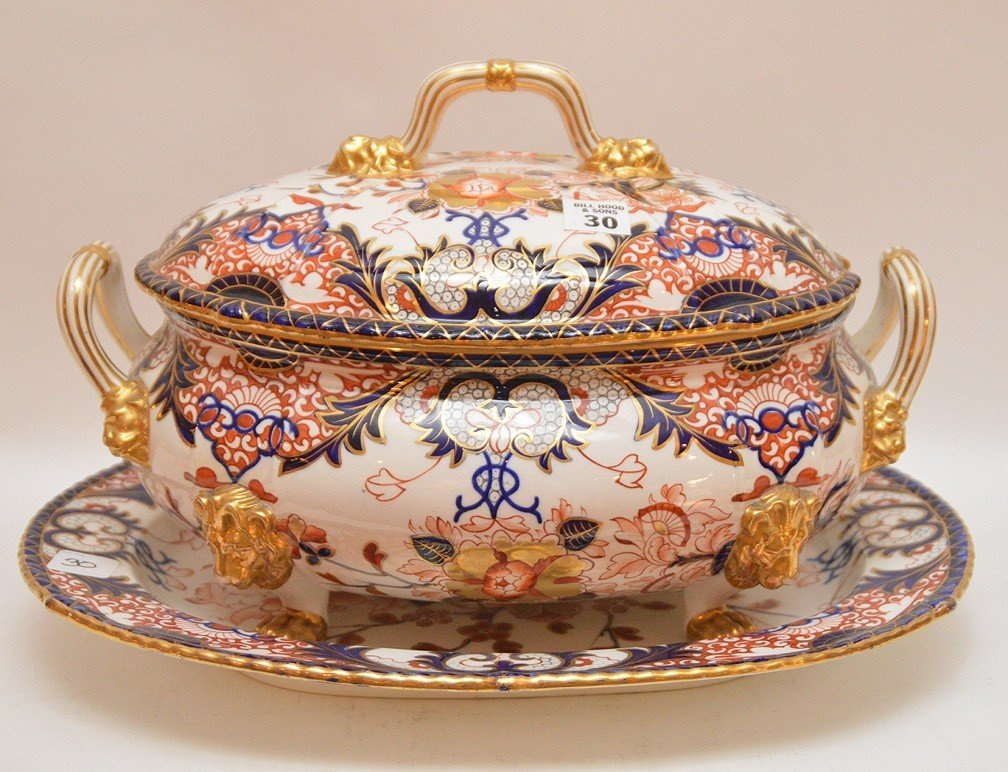 "Royal Crown Derby ""Imari"" porcelain large tureen with"