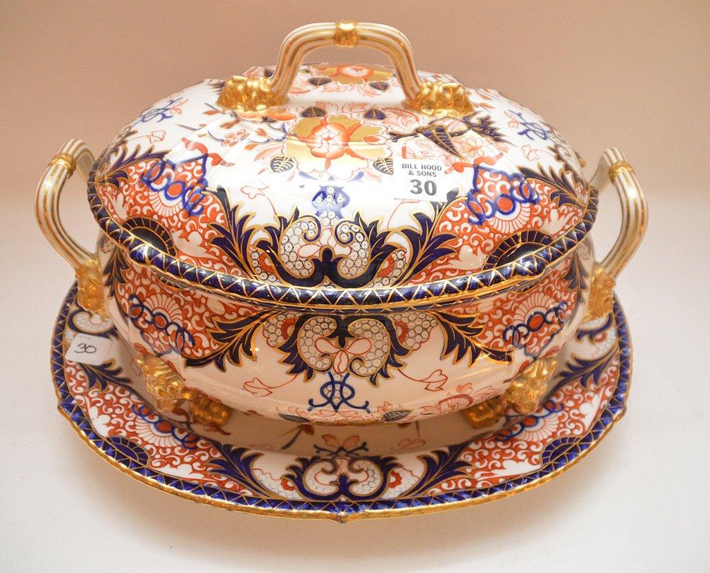"Royal Crown Derby ""Imari"" porcelain large tureen with - 2"