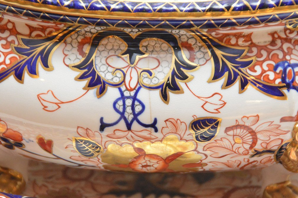 "Royal Crown Derby ""Imari"" porcelain large tureen with - 3"