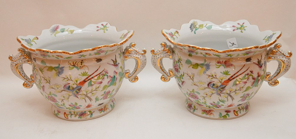 Pair of porcelain scalloped rim cache pots with fauna & - 4