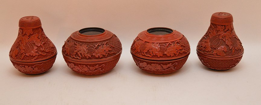 Pair cinnabar gourd form boxes consisting of 2 covered - 4