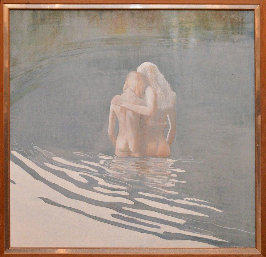 Robert Jenkins  (20th century) swim in the lake, oil on