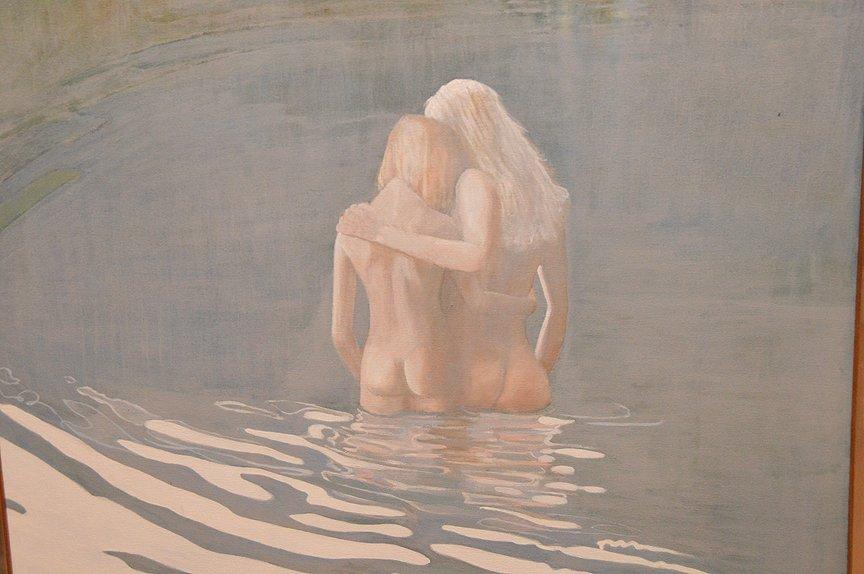 Robert Jenkins  (20th century) swim in the lake, oil on - 2