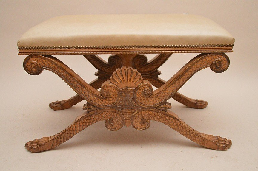 Bench, carved shell and lion paw feet base with beige