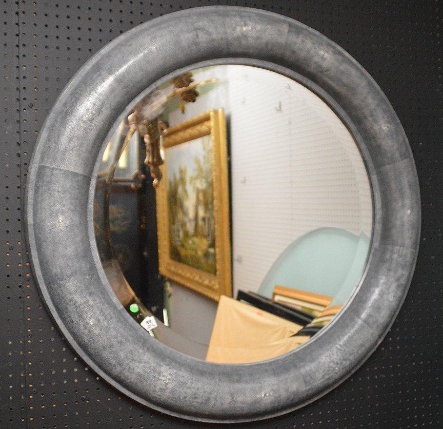 Shagreen stye round frame mirror attributed to Carl