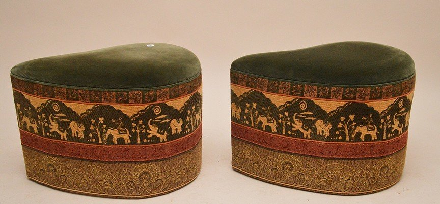 """2 unusual shaped paisley form upholstered ottomans, 17"""""""
